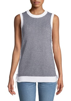 Rag & Bone Iona Crewneck Sleeveless Lace-Up Knit Tank