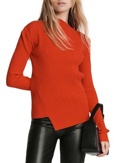 rag & bone Jade Asymmetrical Neck Ribbed Top