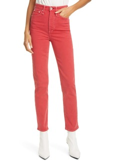 rag & bone Jane High Waist Cigarette Jeans (Firered)