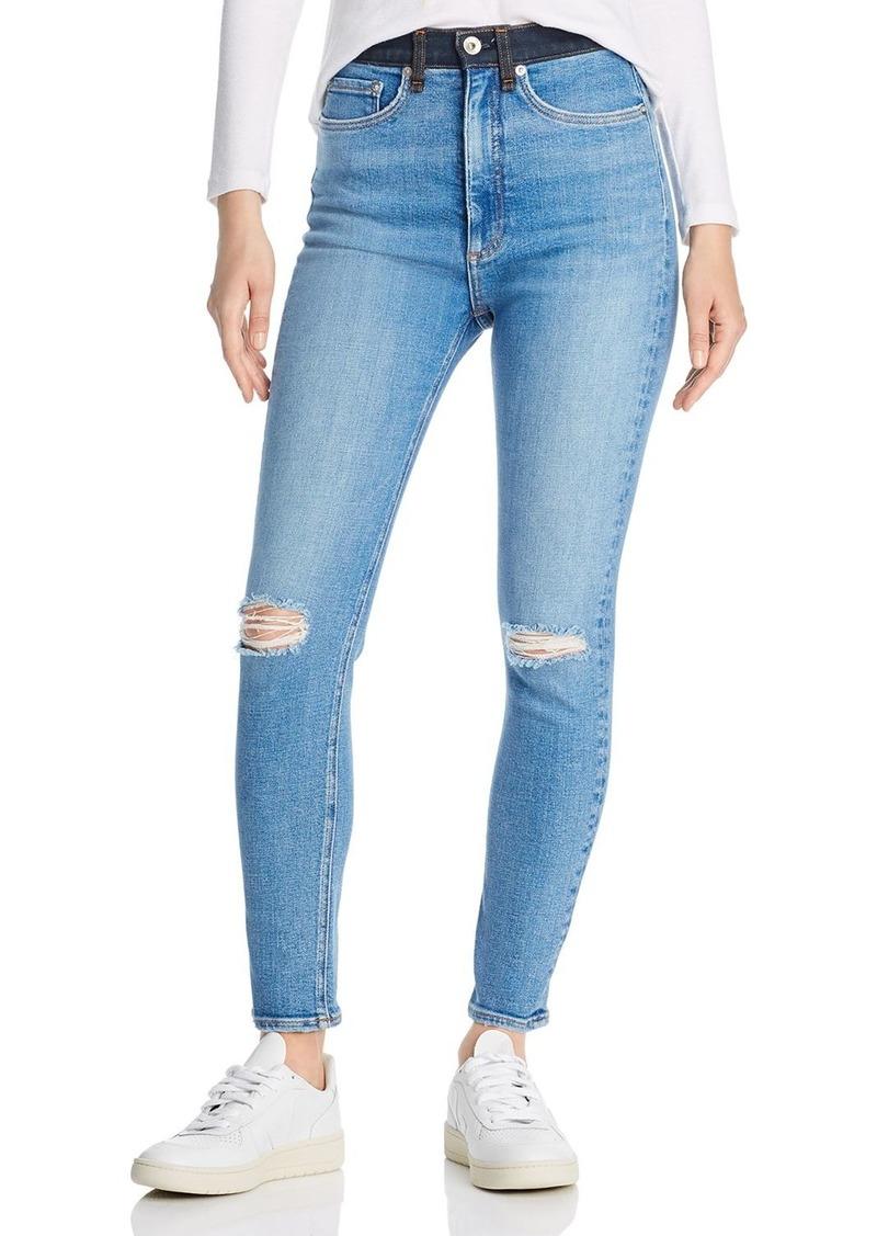 rag & bone Jane Super High-Rise Colorblock-Waist Skinny Jeans in Dara