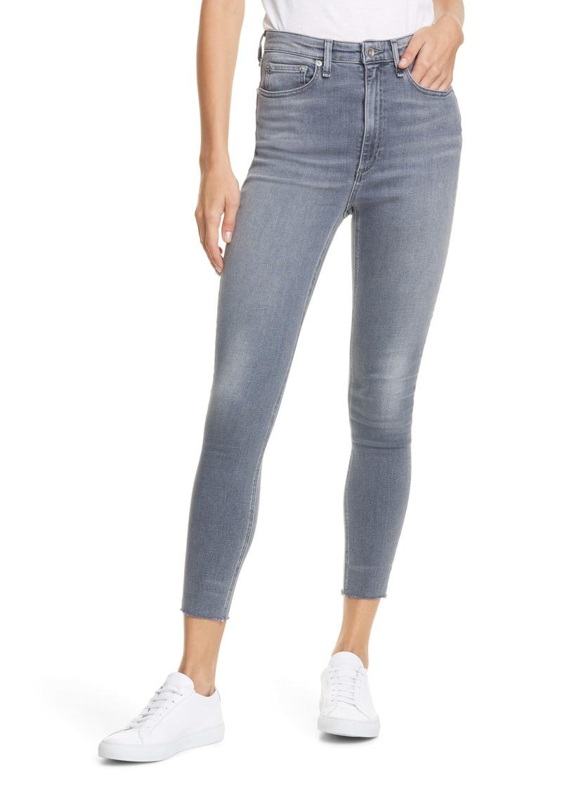 rag & bone Jane Super High Waist Raw Hem Ankle Skinny Jeans (Dexter)