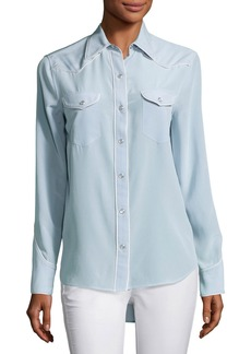 Rag & Bone Jesse Pearly-Snap Western Shirt with Contrast Piping