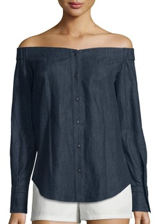 Rag & Bone Kacy Reversible Chambray Off-the-Shoulder Tunic