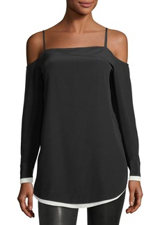 Rag & Bone Karley Cold-Shoulder Long-Sleeve Silk Top