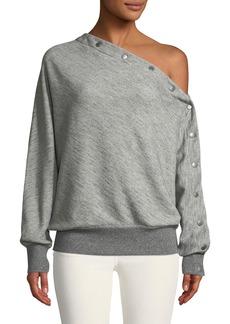Rag & Bone Kate One-Shoulder Snap-Up Pullover Top