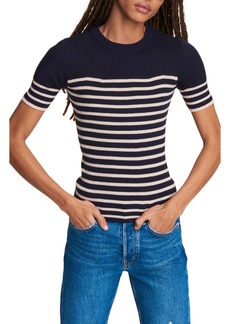 rag & bone Kate Stripe Short Sleeve Cotton & Cashmere Sweater