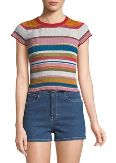 Rag & Bone Katie Striped Short-Sleeve Cropped Tee