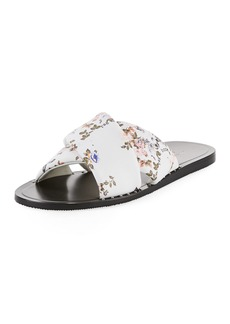 Rag & Bone Keaton Floral-Print Flat Leather Slide Sandal