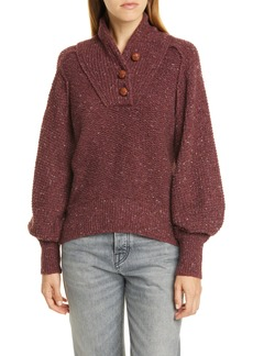 rag & bone Klark Shawl Collar Wool Blend Henley Sweater