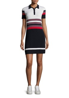 Rag & Bone Krista Short-Sleeve Striped Polo Dress