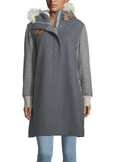 Rag & Bone Laporta Mixed-Media Hooded Coat w/Shearling Fur