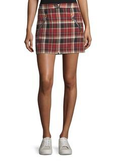 Rag & Bone Leah Cotton Plaid Mini Skirt w/ Leather Trim
