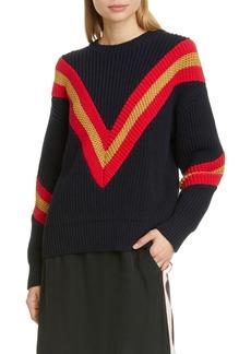 rag & bone Leon Chevron Rib Cotton Blend Sweater