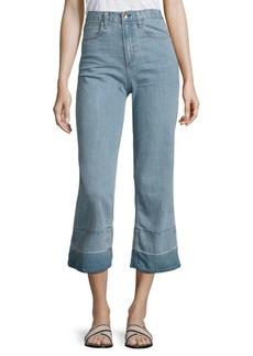 Rag & Bone Lou High-Rise Cropped Flared Released Hem Jeans