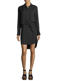 Rag & Bone Lucas Speckled-Print Button-Front Collared Shirtdress