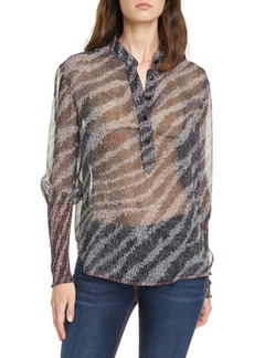 rag & bone Maris Long Sleeve Silk Popover Top