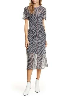 rag & bone Maris Ruched Silk Midi Dress
