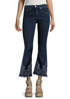 Rag & Bone Marlowe Embroidered Cropped Flared Jeans