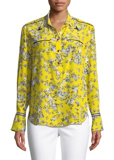 Rag & Bone Martel Long-Sleeve Floral-Print Silk Shirt