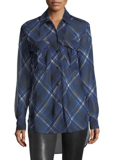 Rag & Bone Mason Plaid Button-Front Tunic Shirt