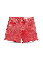 rag & bone Maya Cotton High Rise Denim Shorts in Marbled Red
