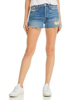 rag & bone Maya High-Rise Distressed Denim Shorts in Rochester