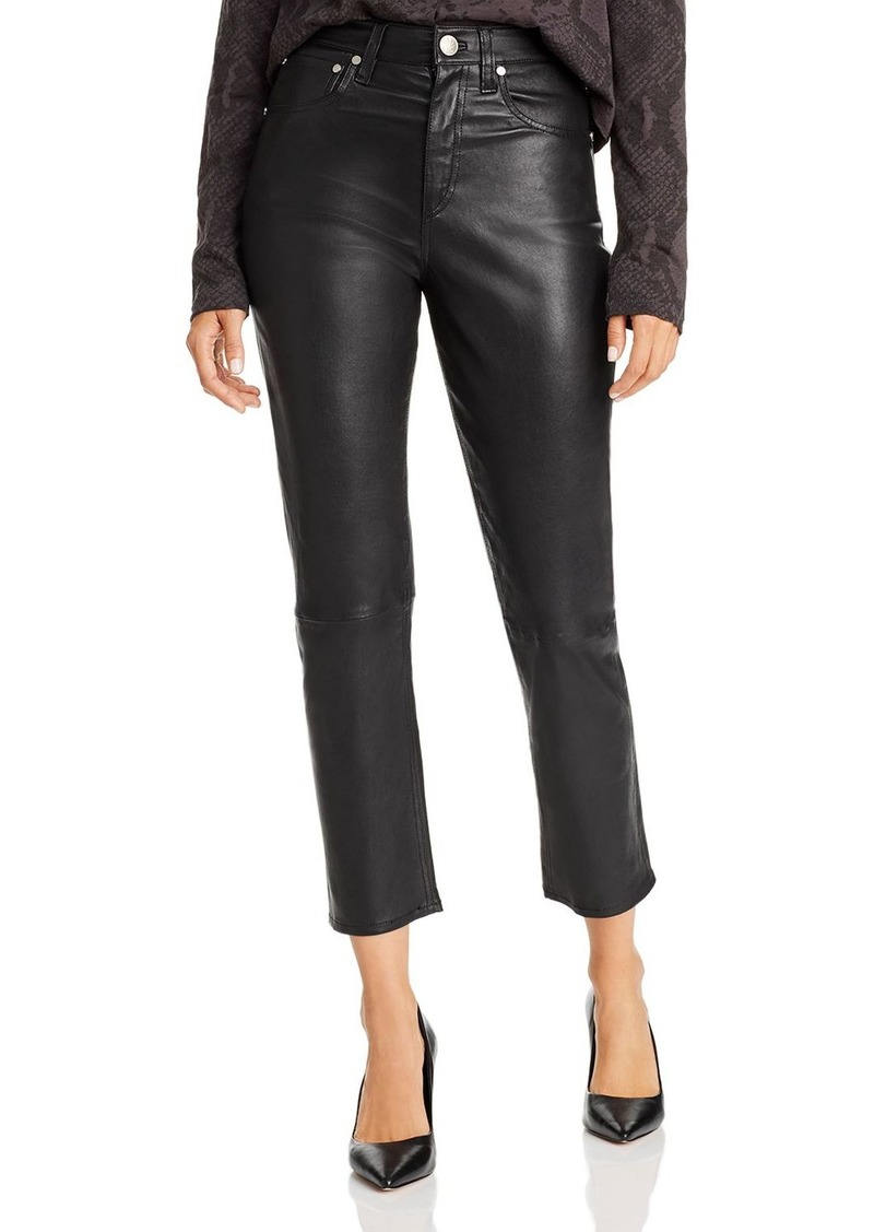 rag & bone Maya High-Rise Straight-Leg Leather Ankle Jeans in Black