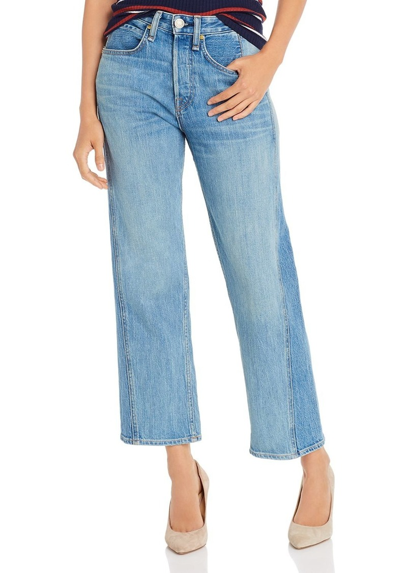 rag & bone Maya High-Rise Two-Tone Ankle Straight-Leg Jeans in Clean Sonny