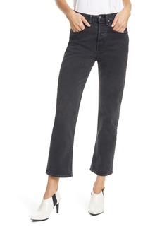 rag & bone Maya High Waist Ankle Straight Leg Jeans (Vintage Black)