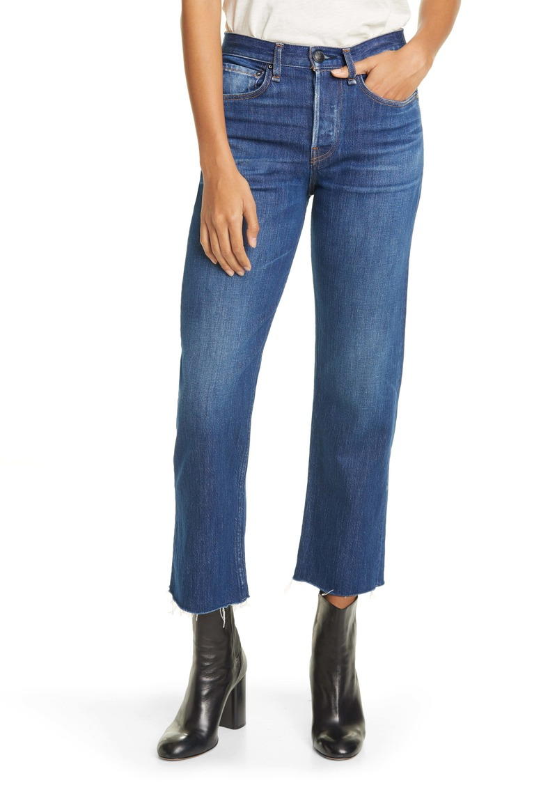 rag & bone Maya High Waist Straight Leg Raw Hem Ankle Jeans (Magnus)
