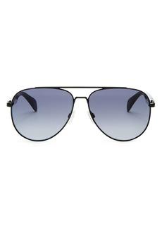 rag & bone Men's Brow Bar Aviator Sunglasses, 58mm