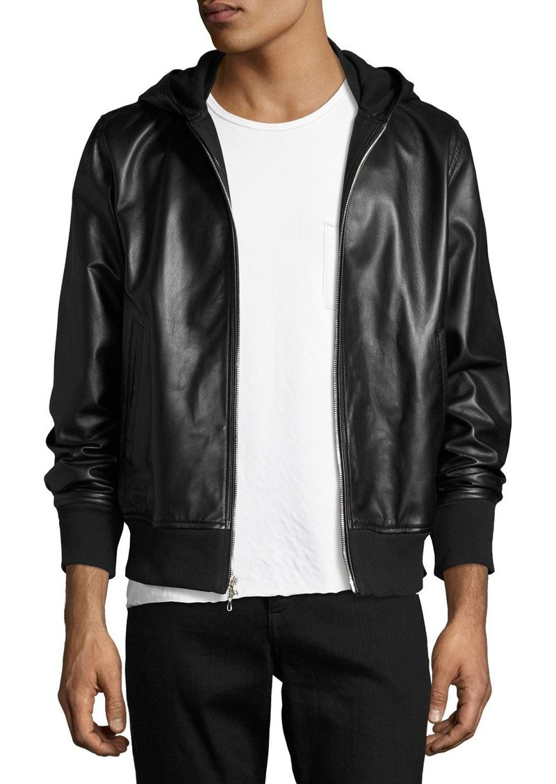 Rag Bone Rag Bone Mens Christopher Black Leather Hooded Bomber Jacket Outerwear