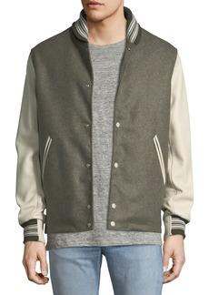 Rag & Bone Men's The Golden Bear Wool Varsity Jacket with Leather Sleeves