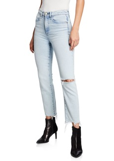Rag & Bone Mid-Rise Ankle Cigarette Jeans w/ Shredded Hem