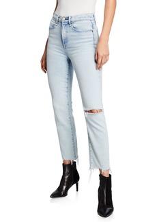 Rag & Bone Mid-Rise Ankle Cigarette Jeans w/ Shredded Hem