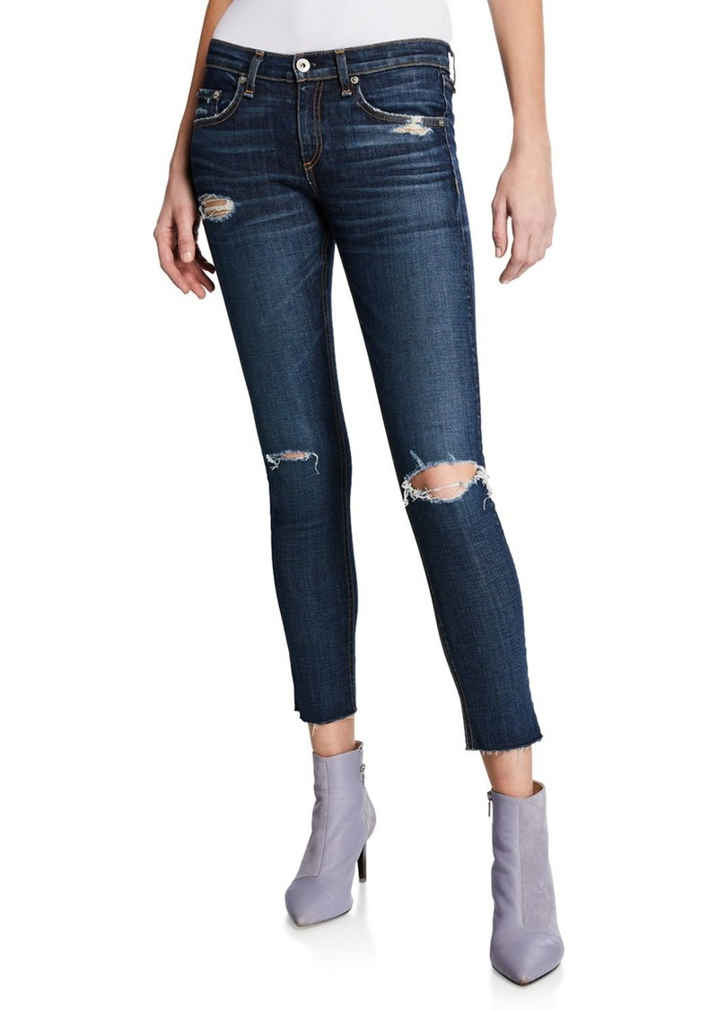 Rag & Bone Mid-Rise Cropped Ankle Skinny Jeans with Holes