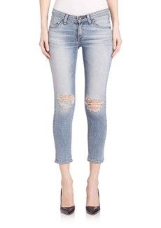 Rag & Bone Mid-Rise Distressed Slim-Fit Cropped Jeans