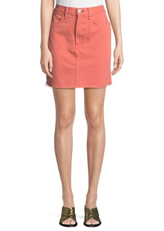 Rag & Bone Moss Denim Mini Skirt with Raw-Edge Hem