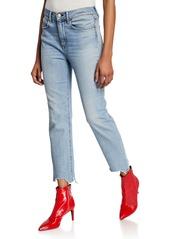 Rag & Bone Nina High-Rise Ankle Cigarette Jeans w/ Chewed Hem
