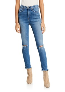 Rag & Bone Nina High-Rise Ankle Skinny with Frayed Hem & Rip Knee