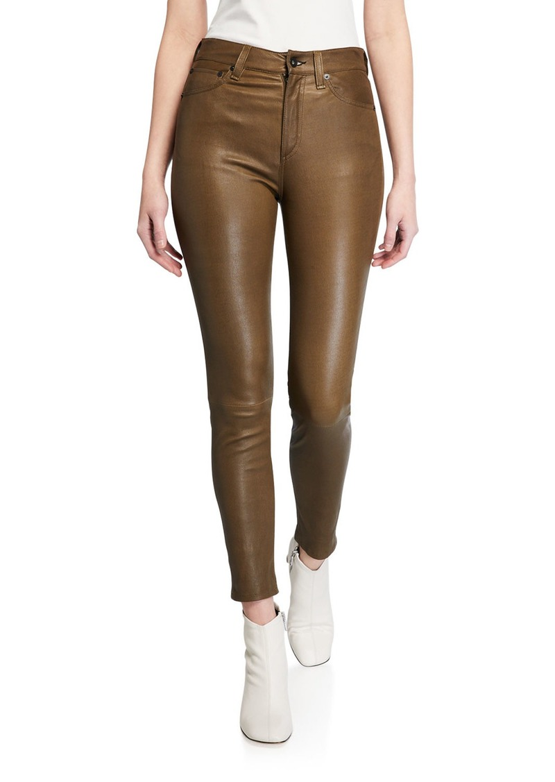 Rag & Bone Nina High-Rise Skinny Leather Ankle Pants