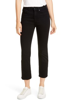 rag & bone Nina High Waist Ankle Cigarette Jeans (No Fade Black)