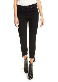 rag & bone Nina High Waist Ankle Skinny Jeans (Black Hampton)