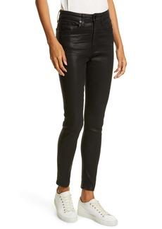 rag & bone Nina High Waist Ankle Skinny Jeans (Coated Black)