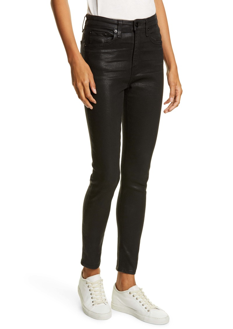 rag & bone Nina High Waist Ankle Skinny Jeans (Coated Black)