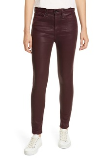 rag & bone Nina High Waist Ankle Skinny Jeans (Coated Wine)