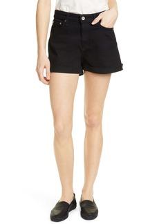 rag & bone Nina High Waist Cutoff Shorts (Coal)