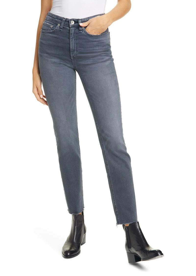rag & bone Nina High Waist Raw Hem Ankle Cigarette Jeans (Haight)