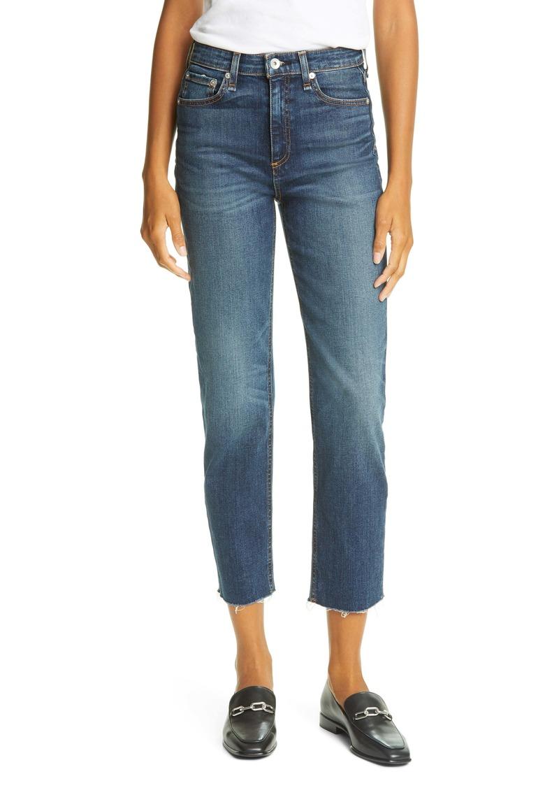 rag & bone Nina High Waist Raw Hem Straight Leg Jeans (Atlantic)