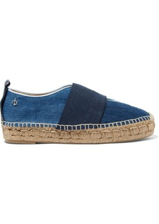 rag & bone Nina leather-trimmed canvas and denim espadrilles